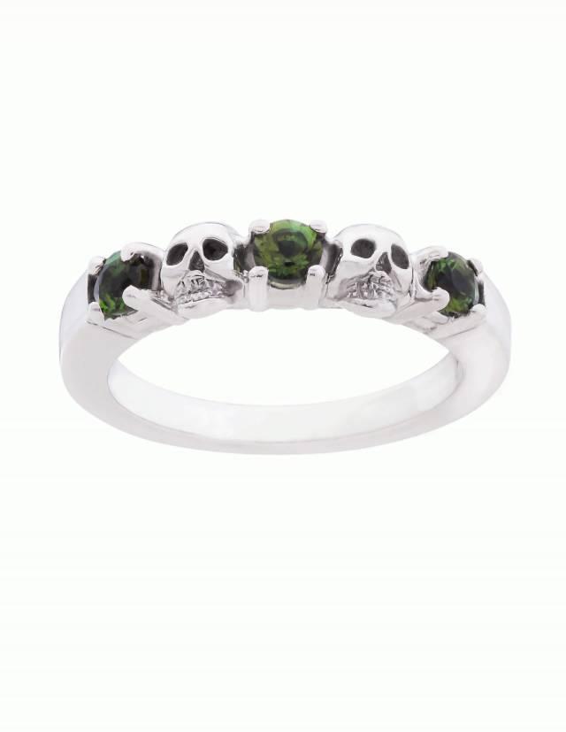 Echidna ist ein schmaler Ehering mit Totenköpfen und echten Edelsteinen deiner Wahl aus Silber. Zwei Totenköpfe und drei runde Edelsteine sind abwechselnd auf einem glatten Band angeordnet.