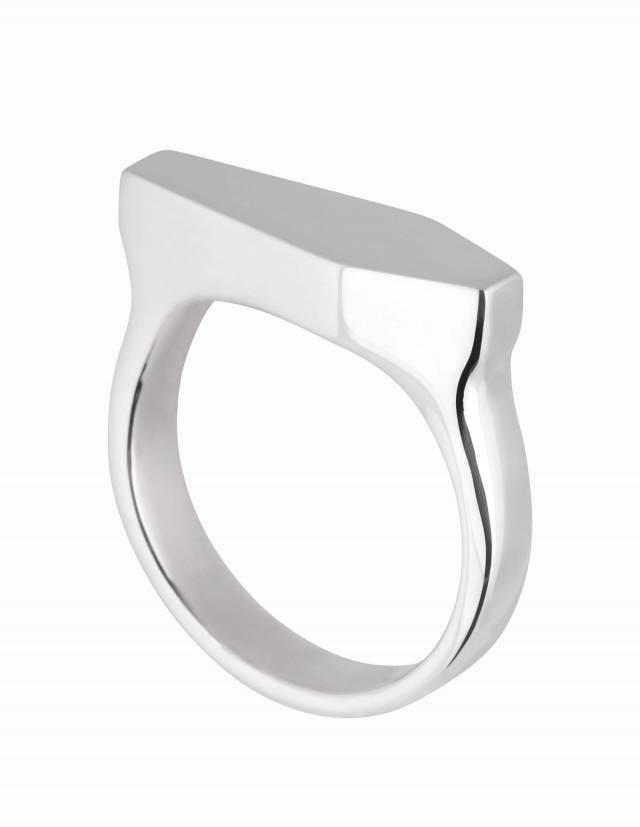 Necromance ist ein großer Siegelring in Form eines Sarges. Die Oberfläche des Ringes aus 925er Silber ist glatt und glänzend. Die Kanten der Ringschiene sind angenehm gerundet. Das Design ist massiv, schlicht und elegant. Schräge Ansicht.