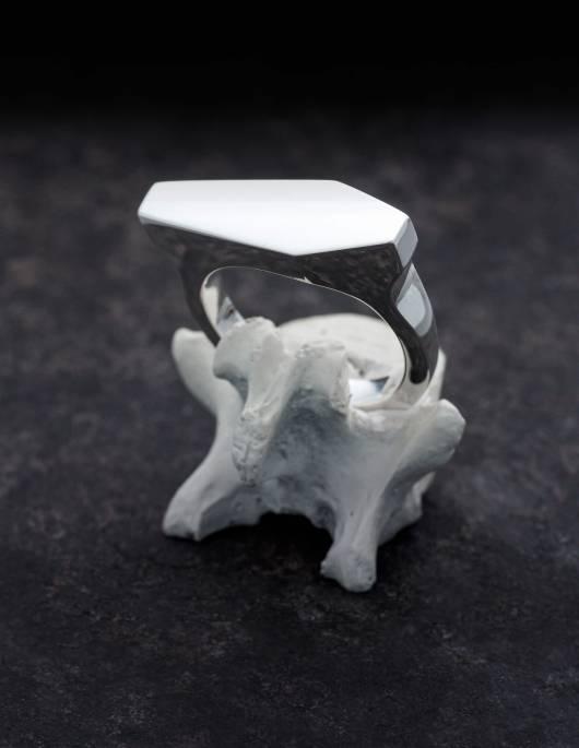 Necromance ist ein Siegelring in Form eines Sarges aus 925er Silber. Das Design ist sehr massiv, schlicht und elegant. Die Oberfläche des Ringes ist glatt und glänzend. Die Ringschiene ist angenehm gerundet und hat einen Verlauf. Der Ring ist auf einem Knochen zu sehen.